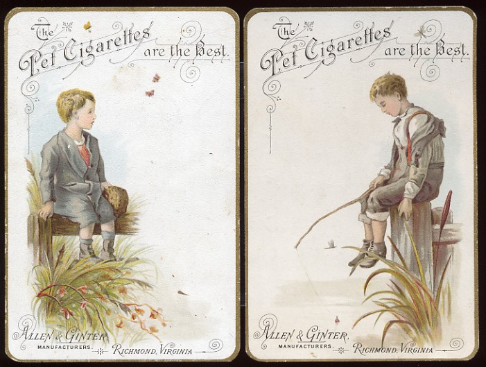 1890 Allen /& Ginter antique FISHING Tobacco advertisement Types of Fish